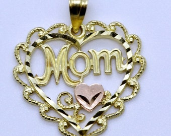 """Rose and Yellow Gold """"Mom"""" Heart Pendant"""