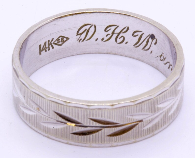 Vintage 14K Solid White Gold Striped Diamond Cut Vine Eternity Ring Band Size 7