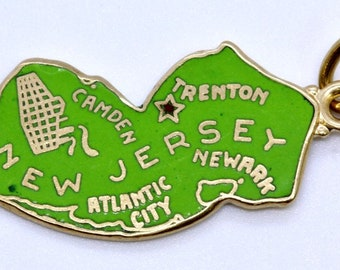 14K Solid Yellow Gold & Green Enamel New Jersey State Charm Pendant