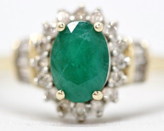 May Birthstone - Vintage Gold and Natural Emerald Diamond Halo Ring Size 7