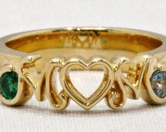 "14K Yellow Gold ""MOM"" Created Emerald & Aquamarine Ring Size 5.5"