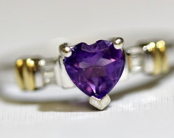 Amethyst - February Birthstone and Diamond Ring Set in White and Yellow Gold Size 7