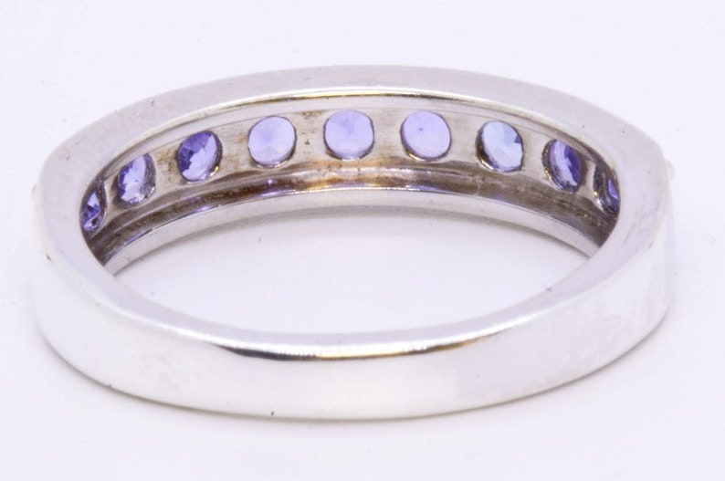 925 Sterling Silver Round Lab-Created Tanzanite 9-Stone 4.5mm Ring Band sz 6.75