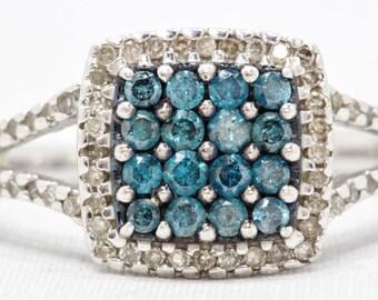 April Birthstone - Lady's Round Brilliant Blue Diamond Cluster Ring Size 5