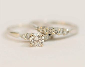 Vintage Heirloom 5 Diamond 14k White Gold Engagement Ring and Wedding Band Set Size 9.25