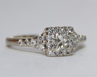 14k White Gold Vintage Diamond Princess Cut Halo Engagement Ring Size 7