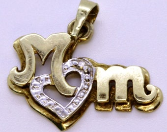 """White and Yellow Gold """"Mom"""" Heart Pendant with Diamond Accent"""
