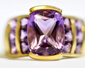 Amethyst - February Birthstone Gold Half Bezel Set Radiant Cusion Cut Amethyst Statement Ring Size 7