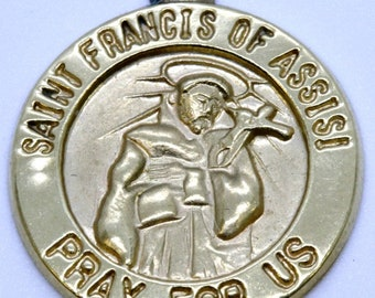 10K Solid Yellow Gold Saint Francis Pray For Us Charm Pendant