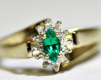 May Birthstone - Vintage 10K Solid Yellow Gold Bypass Shank Marquise Emerald & Diamond Halo Ring Size 7.25