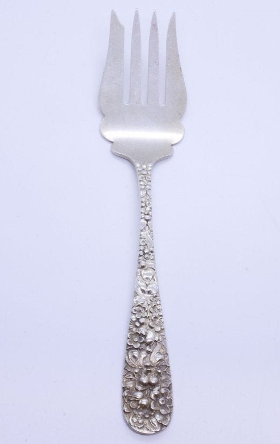 "No Monograms 6 7//8/"" Stieff Rose Sterling Silver Place Fork"