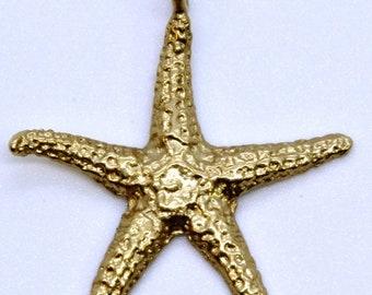 10k Yellow Gold Textured Star Fish Starfish Charm / Pendant