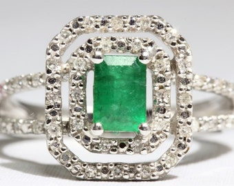 May Birthstone - Vintage Gold and Natural Emerald Diamond Halo Ring Size 7.25