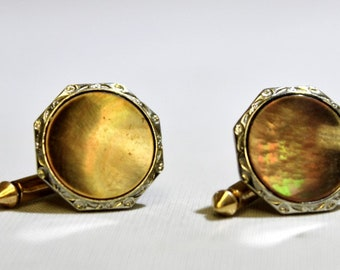 Men's Abalone Shell and Two Tone  Gold Vintage Cuff Links