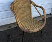 Vintage Mid Century Iron and Rattan Accent Side Chair Lounge Armchair Arthur Umanoff