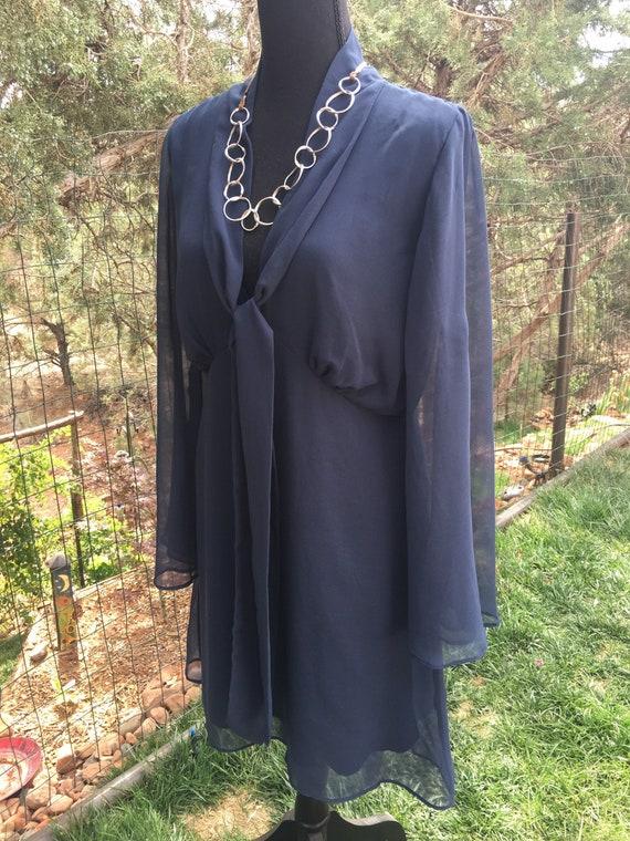 Classic dark blue chiffon dress, ruffle chiffon, … - image 1
