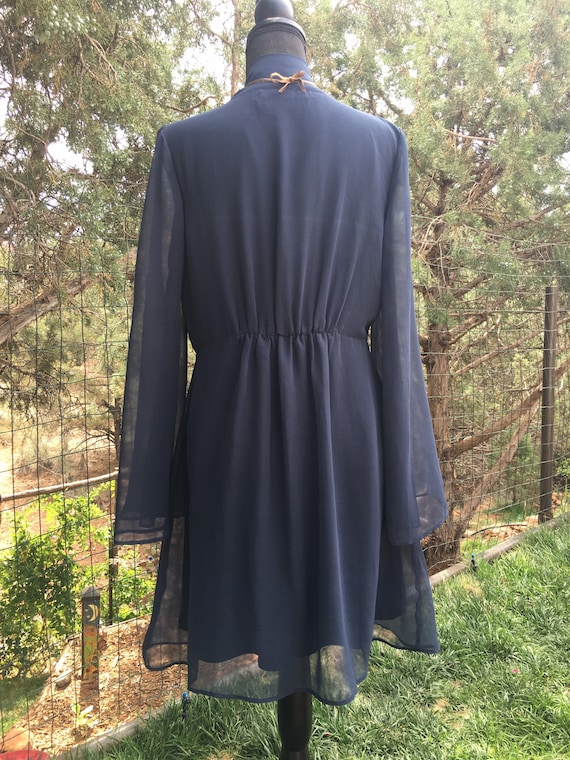 Classic dark blue chiffon dress, ruffle chiffon, … - image 2