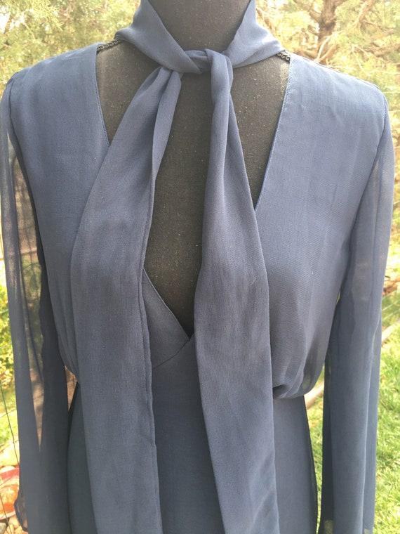 Classic dark blue chiffon dress, ruffle chiffon, … - image 5