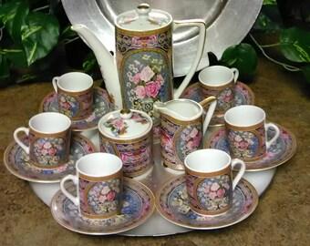 Vintage Japanese Chocolate Pot Tea Set  Asian Chocolate Teapot Tea Set