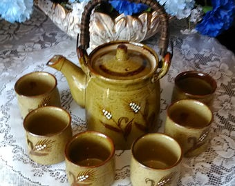 Vintage Japanese Teapot and Cups Pine Combs Design Teapot with Cups