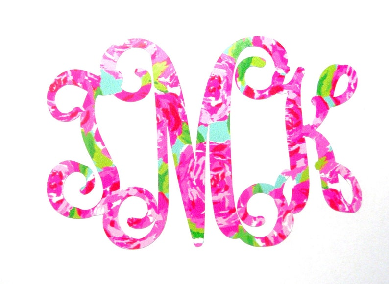 4228b94f9078 Bold Vine Monogram Lilly Pulitzer Inspired Lilly Car Decal