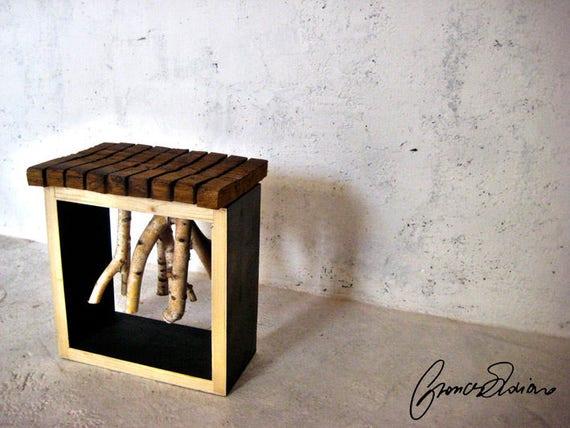 Sgabello artistico in legno antico e betulla art stool birch