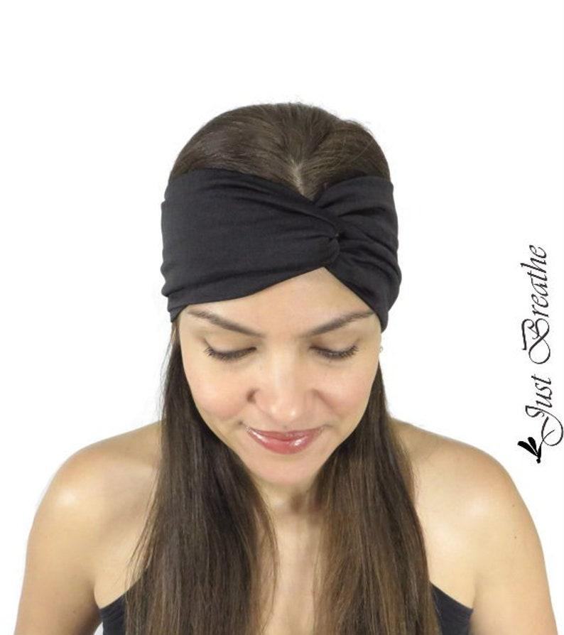 469c2808f6e Black Yoga Headband Fitness Headband Jersey Turban Twist