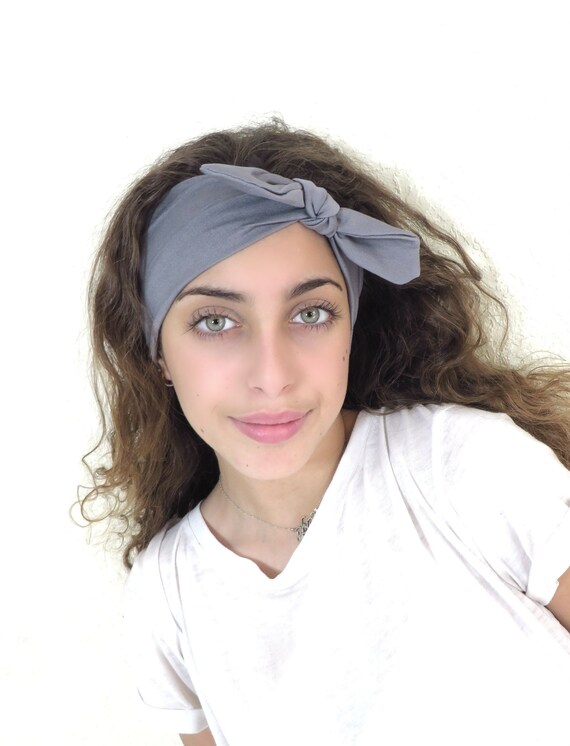 Gray Headband Top Knot Headband Yoga Headband Women Top  4d47da72338