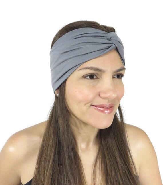 Gray Yoga Headband Fitness Headband Jersey Turban Twist HairBand Boho Headband  Twist Headwrap Knot Headband Fitness ... a927c332673