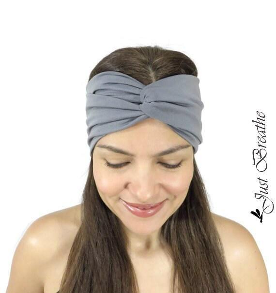 Gray Yoga Headband Fitness Headband Jersey Turban Twist  1907b0380b1