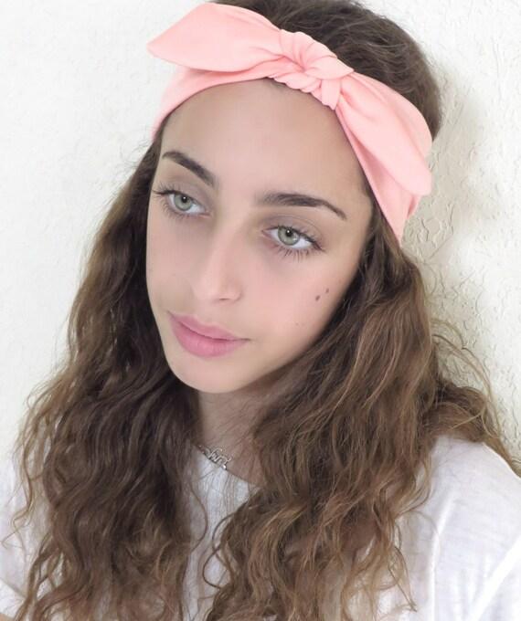 Blush Headband Top Knot Headband Womens Tie Up Headband  e2218f86c94