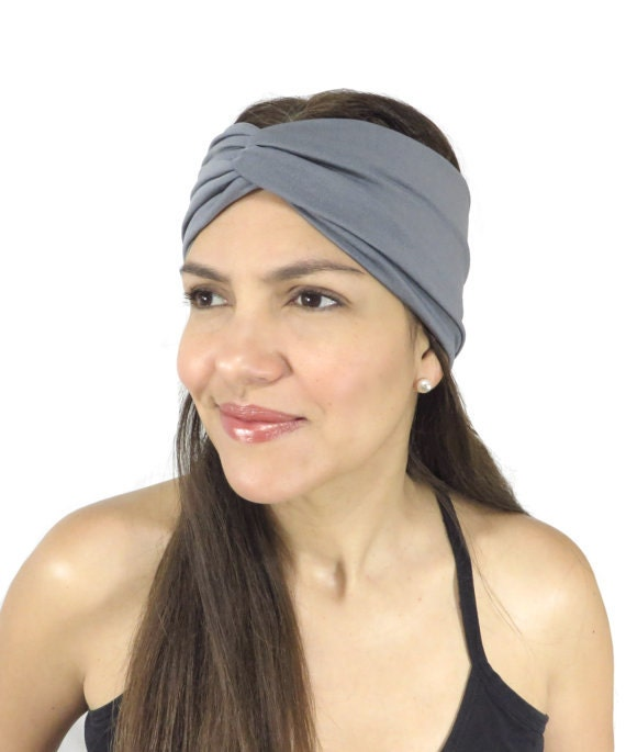 Gray Yoga Headband Fitness Headband Jersey Turban Twist HairBand Boho Headband Twist Headwrap Knot Headband Fitness Girl's Hair Accessories