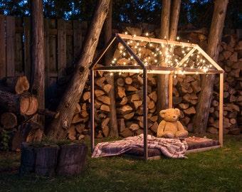 Playhouse - Natural, Birch, Wood, Hand Made, Kids Playground, Minimalist.