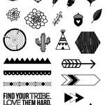 SALE! - TRIBAL LOVE 4x5.5 Photopolymer Stamp set/ Planner Accessories: Erin Condren, Filofax, planners