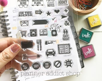 Planner Addict 4x6 Photopolymer Stamp set/ Planner Accessories: Erin Condren, Filofax, planners