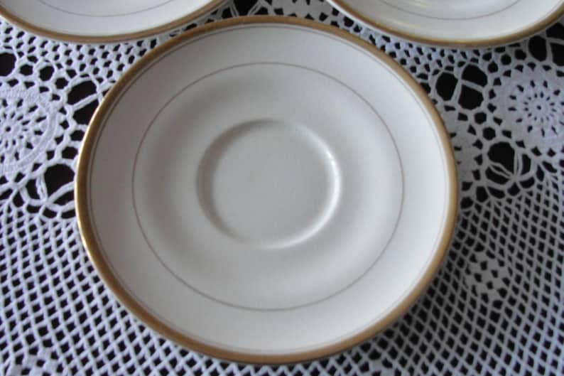 Creme or Bisque w Gold Trim Vintage Antique Carrollton Large Saucer 6 78 Replacement or Spoon HolderSpoon Rest or Candle Holder