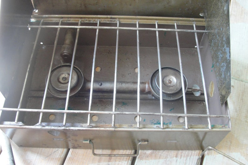 Gas Stove 1940/'s Kamp Kook 2 Burner Leaded or Unleaded  Gasoline Camping Stove Camp Stove American Gas Machine Co. Strong and Sturdy!