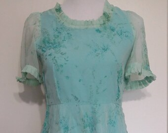 Blue dress, S, M, 70's dress, lace dress, vintage 70s dress, turquoise dress, chiffon dress, rose dress
