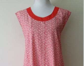 Cotton dress, S, M, drop waist dress, maternity dress, vintage dress, red dress, floral dress, summer dress, fall dress, cotton dress
