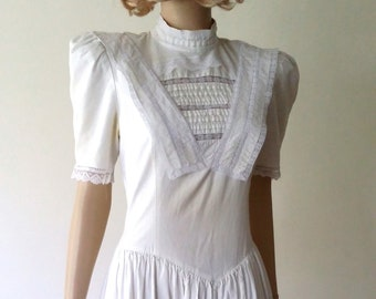 Gunne Sax dress, S, M,  Jessica McClintock, vintage 70s, 70s dress, white dress, cotton dress, lace dress, summer dress, Edwardian dress