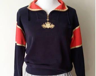 St John, S, M, designer top, designer sweatershirt, nautical top, vintage sweatshirt, blue top, nautical sweater, St John sweater, 80's top