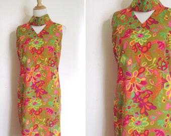 60s dress, L, XL, vintage 60s, mod dress, summer dress, floral dress, psychedelic dress