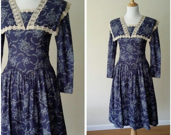 Gunne Sax dress, S, M, vintage 70s, 70s dress, cotton dress, vintage Gunne Sax, floral dress, prairie dress