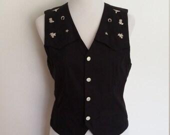 Studded vest, S, M, black vest, cotton vest, summer vest, western vest, cowgirl vest, southwestern vest, 70s costume, cowboy costume
