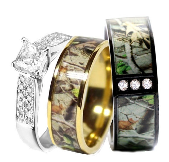 Camo Wedding Ring Set For Him And Her Titanium Stainless Etsy
