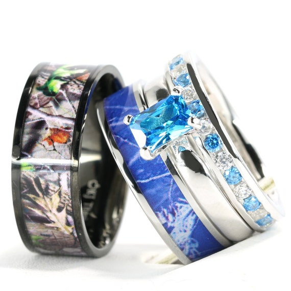KingswayJewelry Blue Camo Women`s Stanless Steel and Sterling Silver Engagement Wedding Rings Set