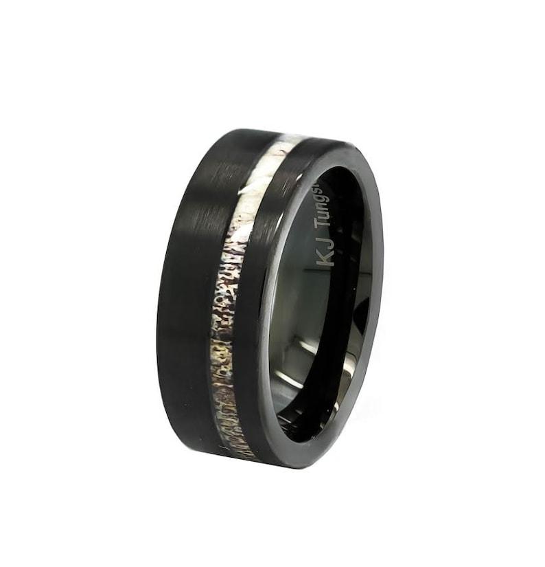 FREE Engraving Unisex Wedding Band Hunter Ring Black Tungsten Deer Antler Ring