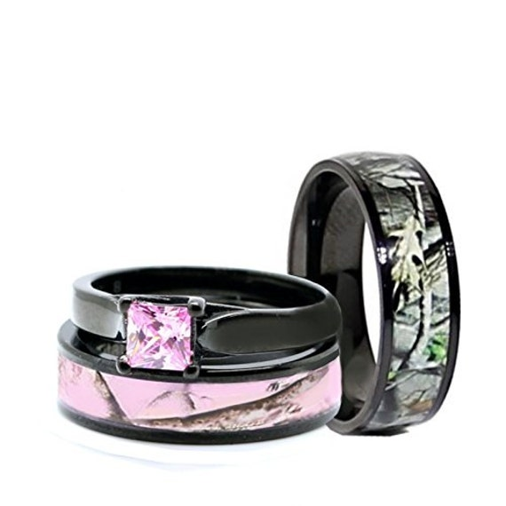 His And Hers Camo Wedding Rings Set Black Plated Titanium And Etsy