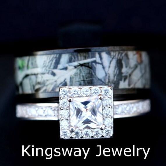 2 Piece Women S Black Camo Wedding Ring Set Titanium And Etsy