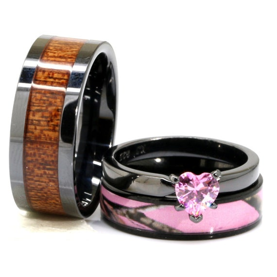 His And Her Pink Camo Wedding Ring Set Black Ceramic Acacia Etsy